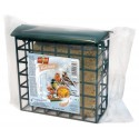 Fat block with insects for wild birds in plastic feeder 300g