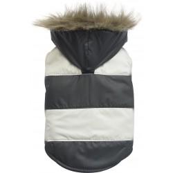 Kurtka w paski z futerkowym kapturem, czarno/biała, SD-XS 18-20cm/31-33cm