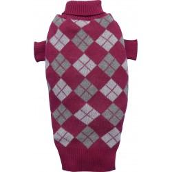 Sweter w romby, ciemnoczerwony, SD-XS 18-20cm/31-33cm