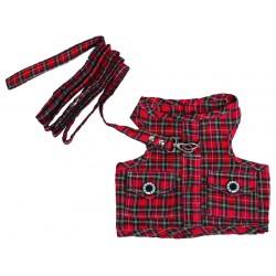 Szelki na smyczy w kratkę, czerwone,SD-XL 33-35cm/51-53cm