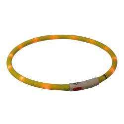 Opaska świecąca USB, silikon, XS–XL: 70 cm/? 10 mm, żółta