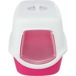 Vico, kuweta kryta, dla kota, różowa/biała, plastik, 40x40x56cm