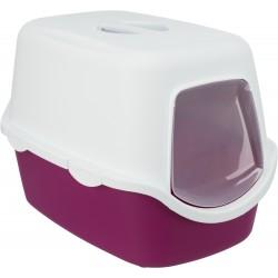 Vico, kuweta kryta, dla kota, jagodowa/biała, plastik, 40x40x56cm