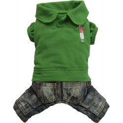 Komplet jeans z polo, zielony,SD-XL 33-35cm/51-53cm