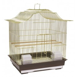 Klatka dla ptaków 47x36x55,5 cm złoto/brązowa