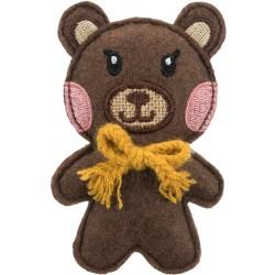 Miś, zabawka, dla kota, materiał/juta, 10 cm, z kocimiętką