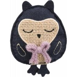 Sowa, zabawka, dla kota, materiał/juta, 11 cm, z kocimiętką
