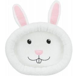 Legowisko w kształcie głowy królika, dla królika, owalne, białe, poliester, 40x33cm