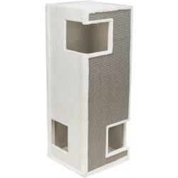 Gerardo, wieża, dla kota, biała/szara, plusz/sizal, 100 cm