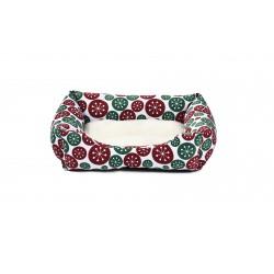 Legowisko dla psa, czerwono/zielone kwiaty, 60x48cm,