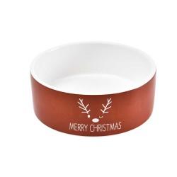 Miska ceramiczna dla psa, Merry Christmas, czerwona, 16x6cm