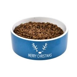 Miska ceramiczna dla psa, Merry Christmas, niebieska, 16x6cm