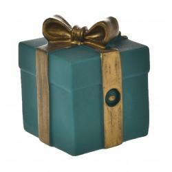 Zabawka dla psa, prezent niebieski, winylowy, 8,5x6cm, piszcząca
