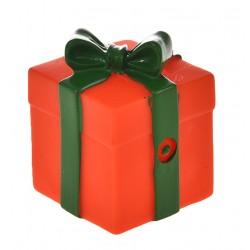 Zabawka dla psa, prezent czerwony, winylowy, 8,5x6cm, piszcząca