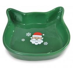 Miska ceramiczna dla kota, Św. Mikołaj, zielona, 13,6x13,6x3cm