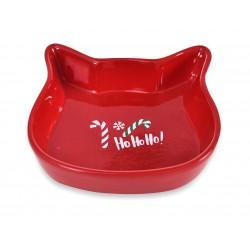 Miska ceramiczna dla kota, Ho Ho Ho, czerwona, 13,6x13,6x3cm