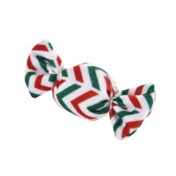 Zabawka dla kota, cukierek pluszowy, czerwone/zielone paski, 4x9cm