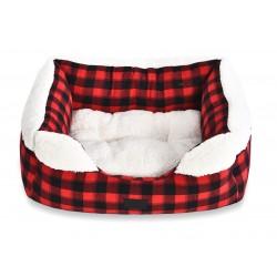 Legowisko dla psa, czerwono/czarna krata, 50x40cm, dwustronna poduszka