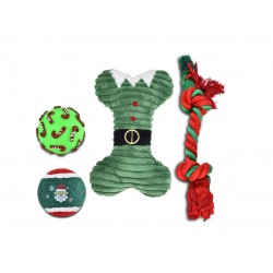 Zestaw zabawek dla psa: piłka winylowa 6,7cm, piłka tenisowa 6,3cm, kość pluszowa 21cm, sznur 32cm, zielony, 4szt/op.