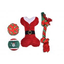 Zestaw zabawek dla psa: piłka winylowa 6,7cm, piłka tenisowa 6,3cm, kość pluszowa 21cm, sznur 32cm, czerwony, 4szt/op.