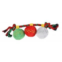 Zabawka dla psa, sznur z pluszowymi piłkami, 32x9cm